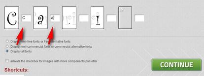 karakter jenis font