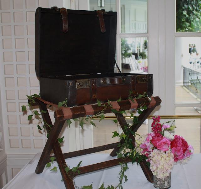 Unique Gift Card table ideas - Antique Suitcase - Splendid Stems Floral Designs