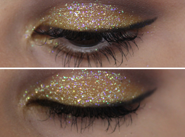 lit cosmetics champagne wishes glitter nyx butterscotch eyeshadow makeup look
