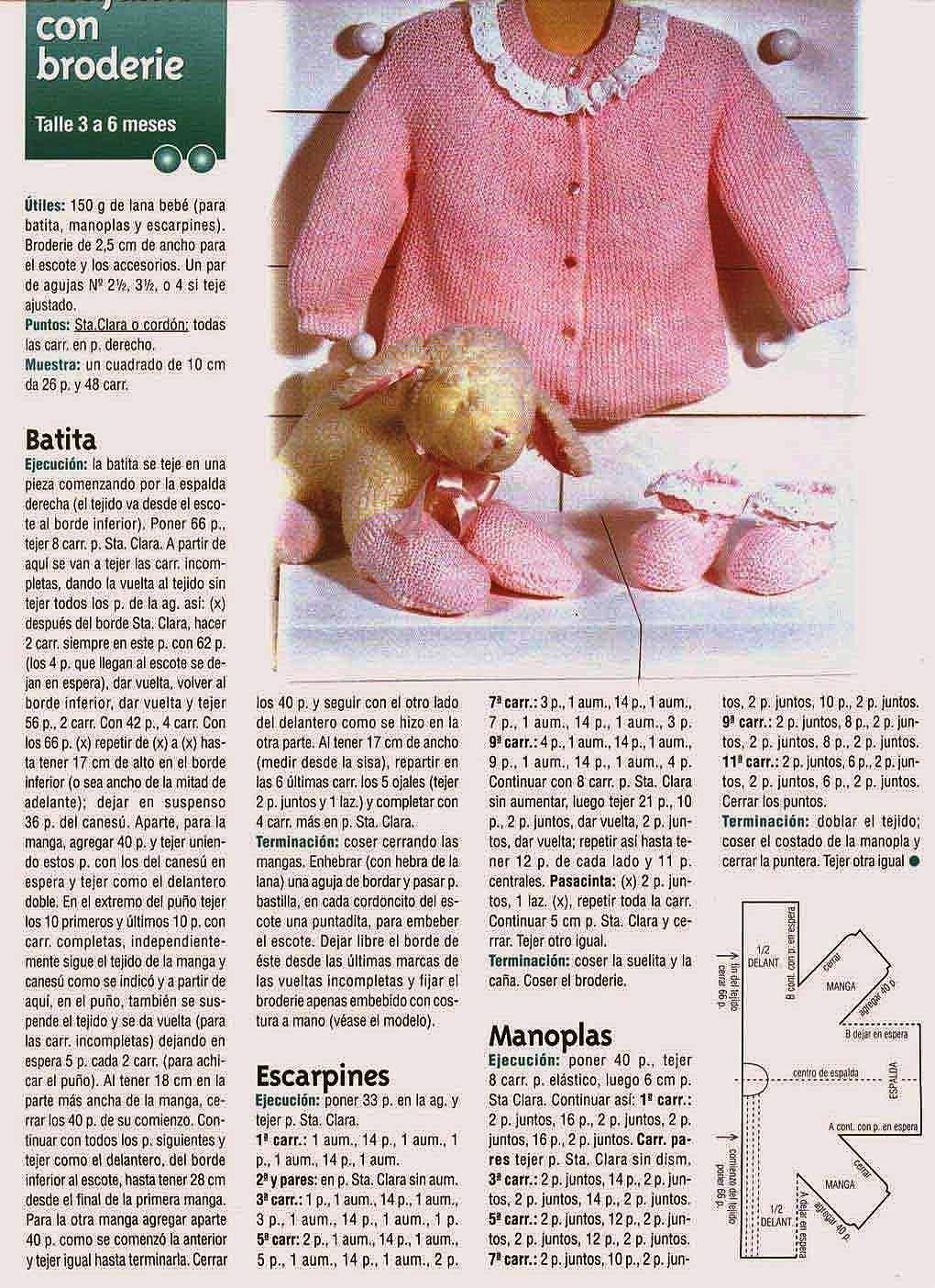 Saquito Y Escarpines para Bebé a dos agujas