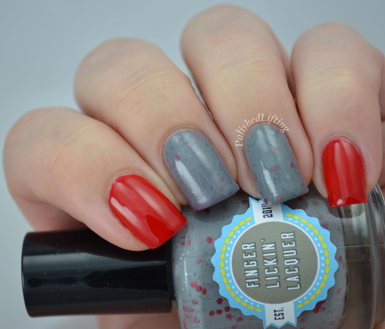 Finger Lickin' Lacquer Coug It OPI Big Apple Red