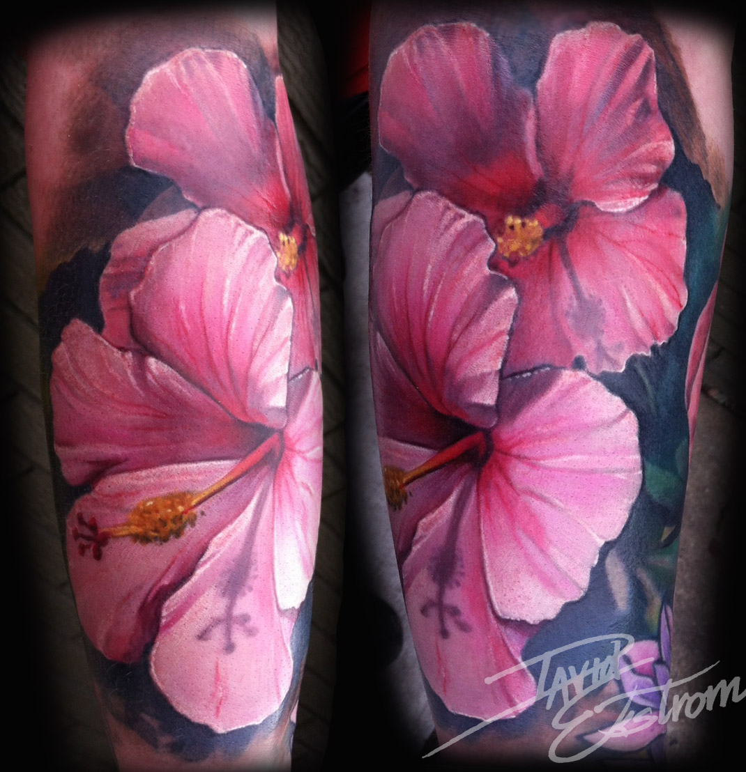 Tattoos art by david ekstrom hibiscus flower forearm tattoo a hibiscus tattoo iv been working on fresh front flower the back one has been tattooed before clients been haveing a scabbing problem izmirmasajfo