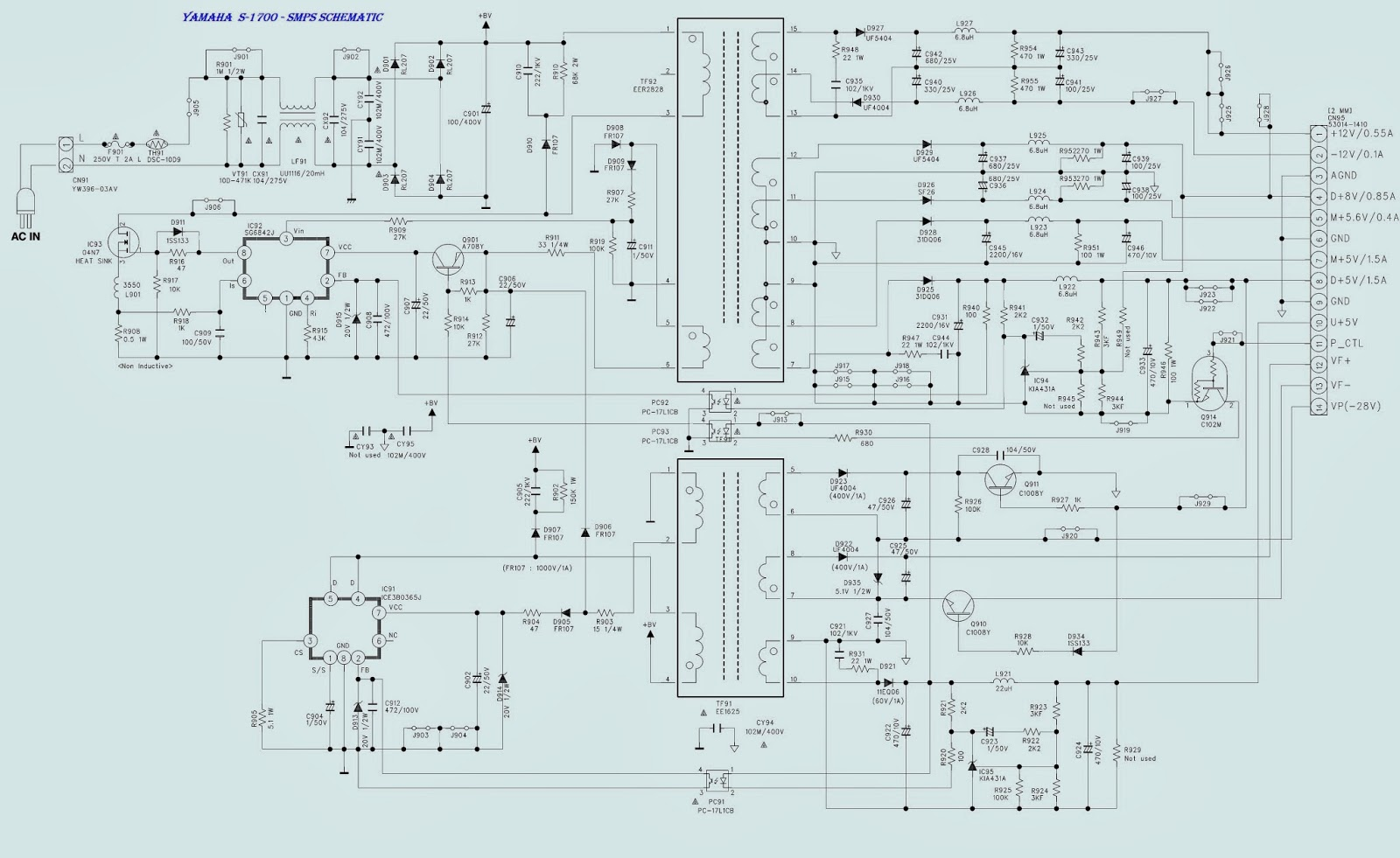SMPS.bmp yamaha dvd s 1700 smps (power supply) schematic [circuit diagram yamaha schematic diagram at n-0.co