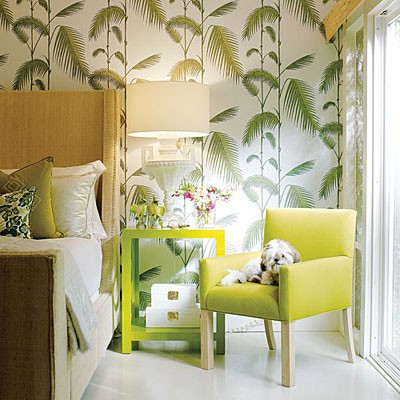 green and white bedroom palm frond palm beach