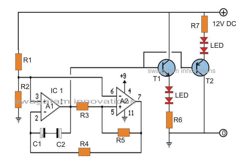 alternating on  off led fader circuit