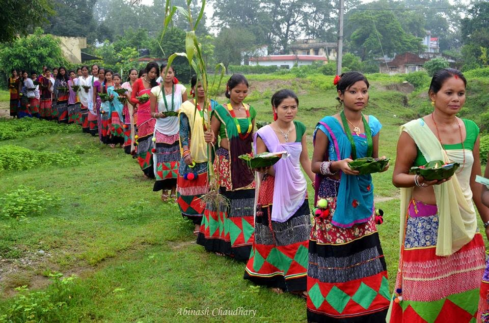 Beautiful Tharu girls in culture dress in the day of Astimki, Farwest Nepal