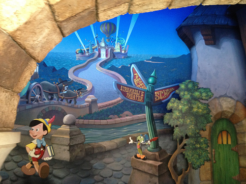 Pixie dust pastiche the pinocchio ride mural for Disneyland mural