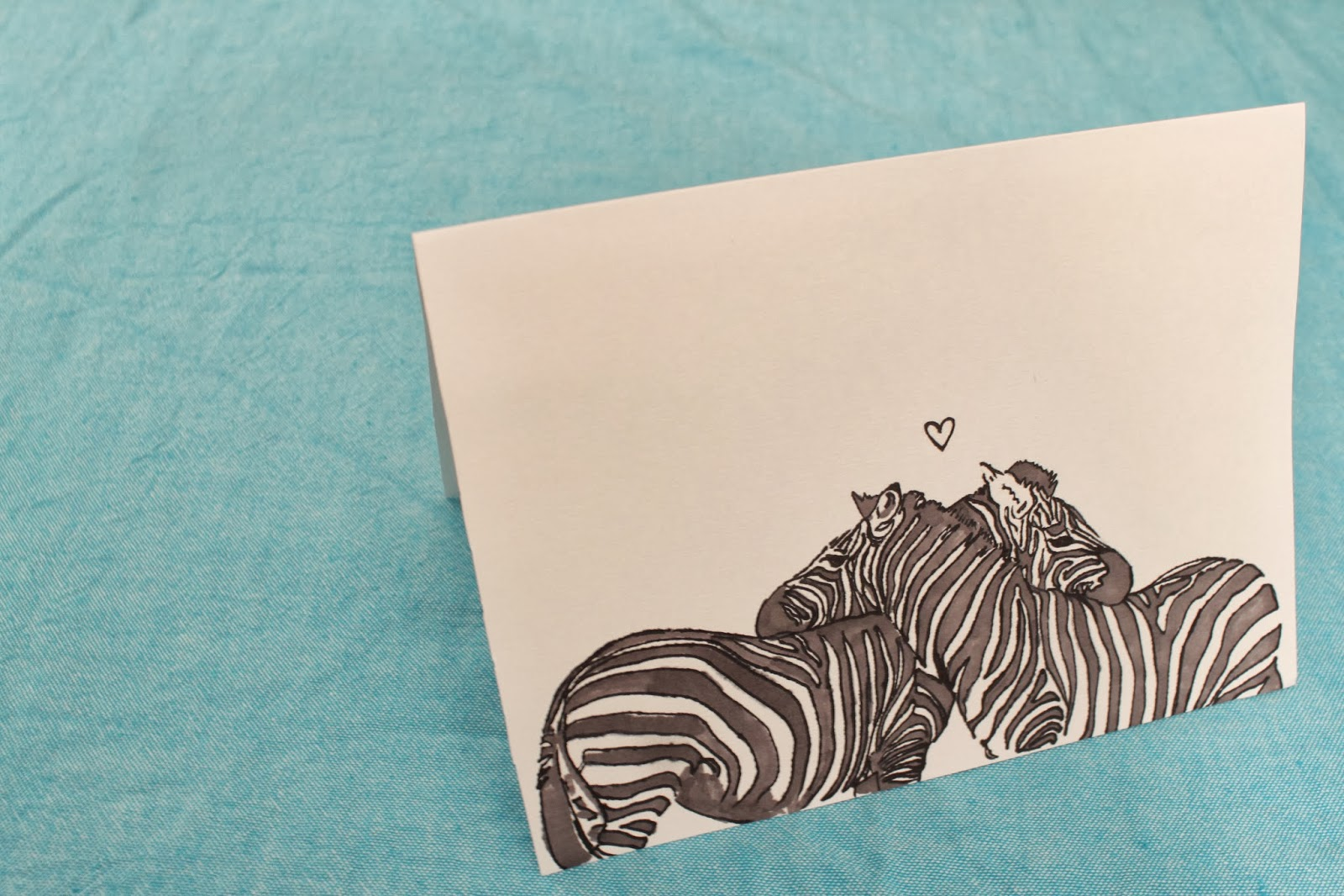 zebra valentine's day card