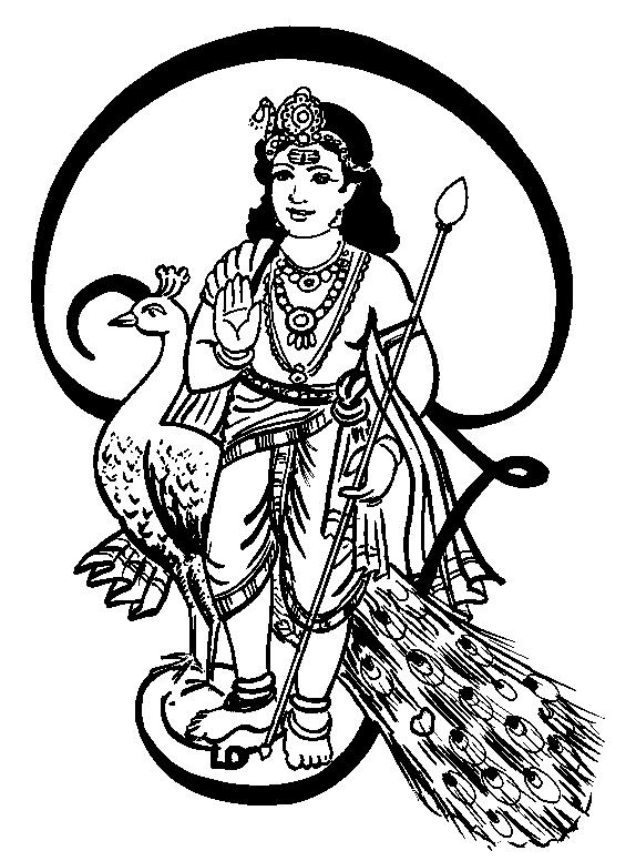 tamil cliparts lord muruga line art