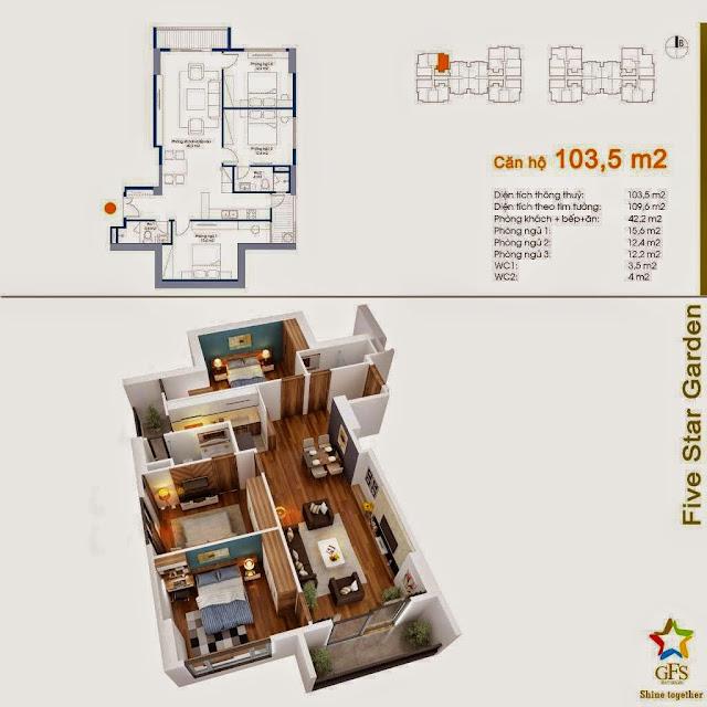 Diện tích căn hộ 103,5m2 Five Star