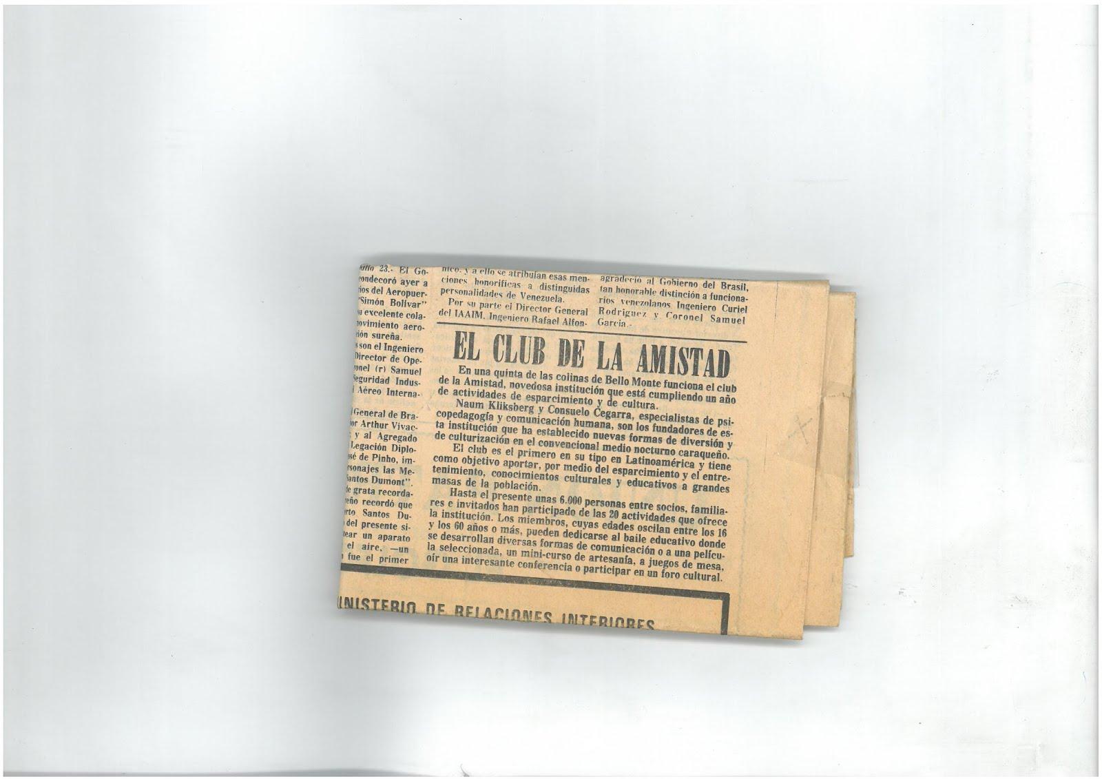 62b -Periódico EL MUNDO, Caracas, 23/07/1980. Noticia sobre el CLUB CULTURA Y AMISTAD.