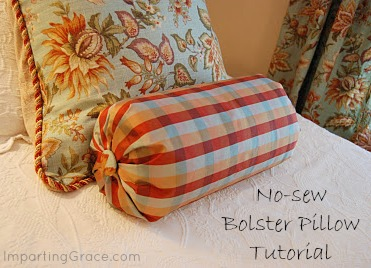 Easy Sew Bolster Pillow: Imparting Grace  No sew bolster pillow tutorial,