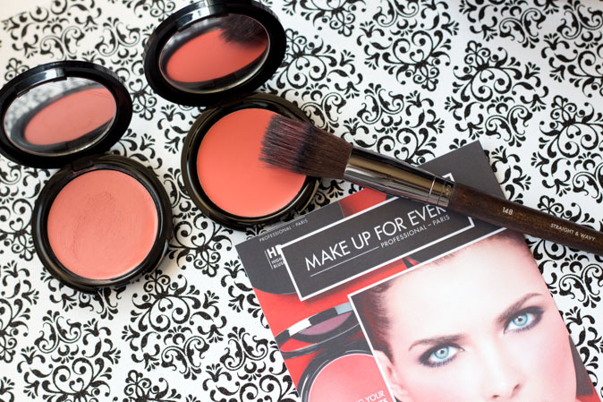 make up for ever hd cream blush in 215 flamingo pink and 410 coral