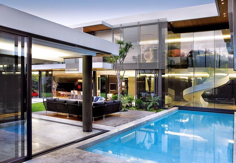 desain rumah minimalis 2 lantai ada kolam renang gambar