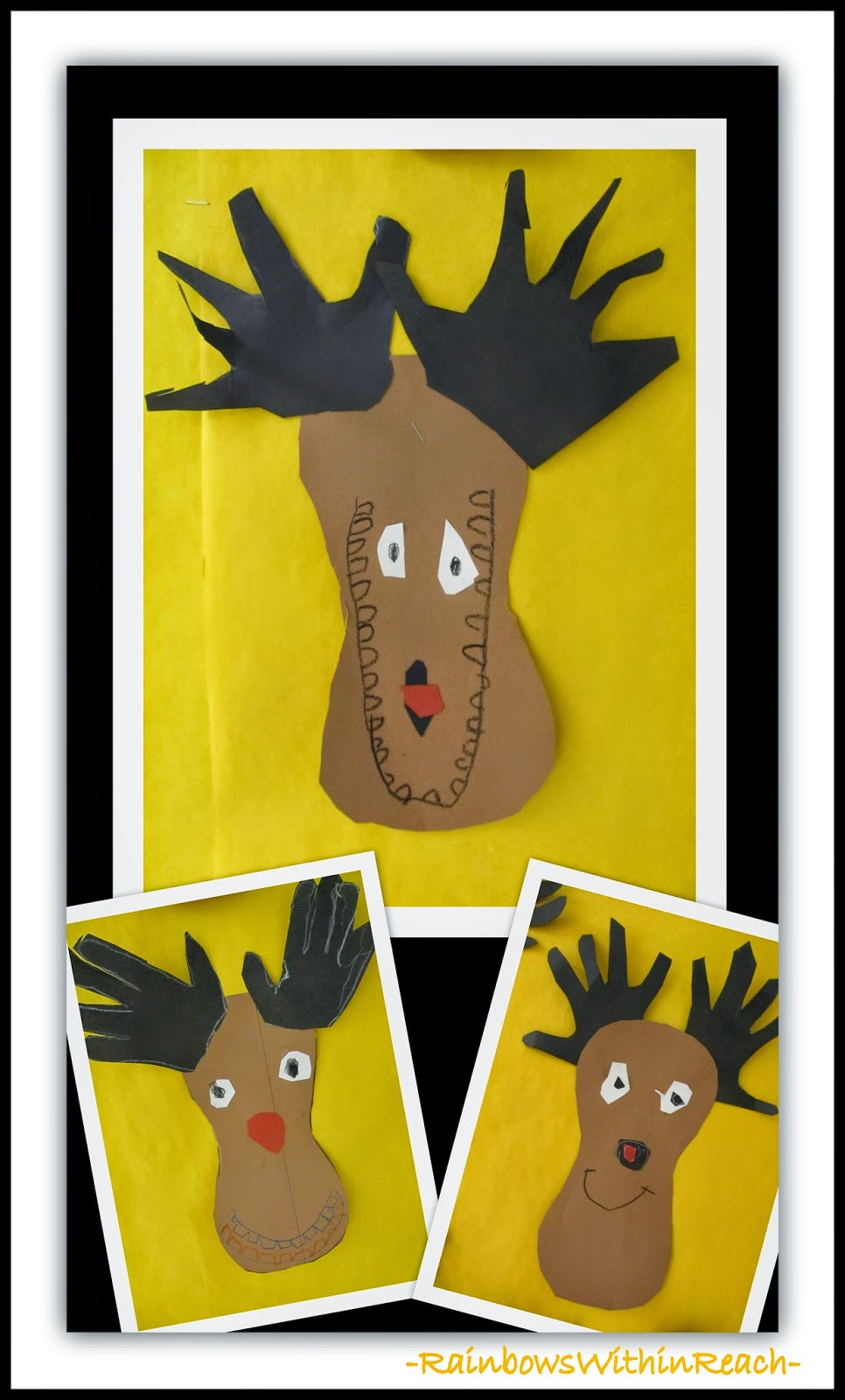 Reindeer Created from Traced Hands {Hand Print RoundUP at RainbowsWithinReach}