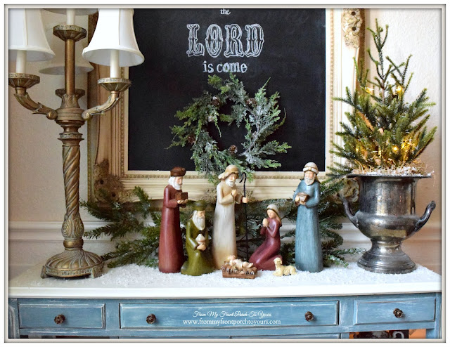 Farmhouse Christmas Dining Room-Nativity Vignette- From My Front Porch To Yours