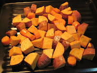 Roasting sweet potatoes & carrot