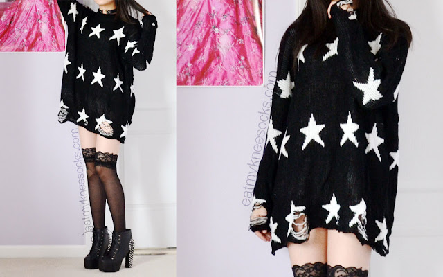 Full photos of this edgy, Harajuku-esque outfit featuring lace-trim silk socks, Jeffrey Campbell Lita Spike dupes, a Wildfox Seeing Stars Lennon sweater dupe from Dresslink, and a leather heart ring choker.