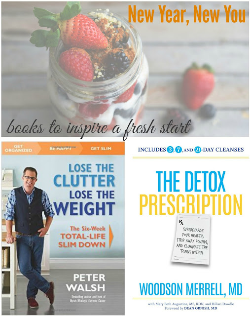 Two great books to make a fresh start this new year - The Detox Prescription by Woodson Merrell, MD, has a 3-day juice, smoothie & nut milk cleanse followed by 4 days of fully vegan eating and two weeks of mostly vegan eating (can substitute to make it fully vegan). Get the toxins out of your system!   Lose The Clutter, Lose The Weight, by organizing expert Peter Walsh, outlines the connection between weight, clutter and anxiety. With a 6-week plan for cleaning up your diet and your home (vegan options). #health #healthy #newyear #vegan #vegetarian #eating #books #bookreviews