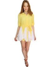 Yellow Lace Skater Dress