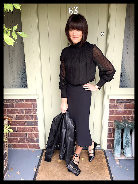 My Midlife Fashion, Zara Studded Ballerina Flats, Zara Flared Skirt, Leather Biker Jacket
