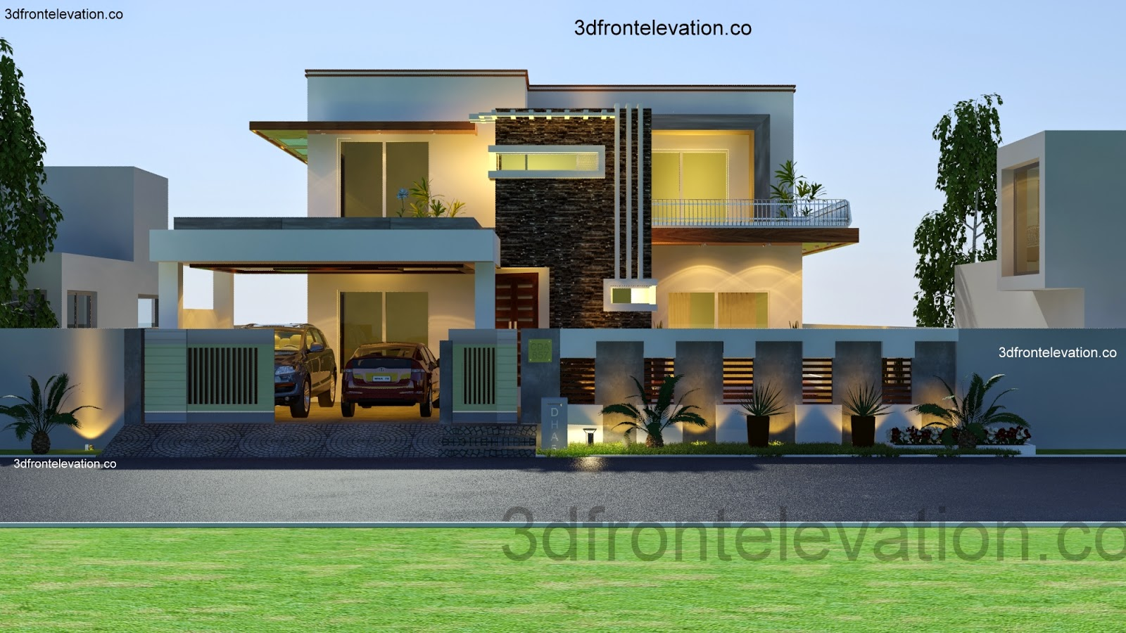 3d front 1 kanal house plan layout 50 39 x 90 for New homes design pakistan