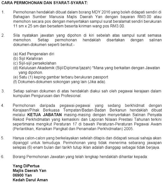Jawatan Kosong Majlis Daerah Yan (MDYan)