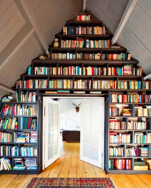 Bibliotheque jusqu'au plafond