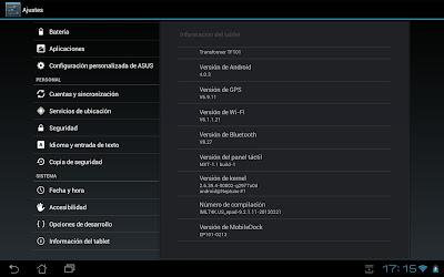 Imagen de la tablet Asus Transformer con Android 4.0.3