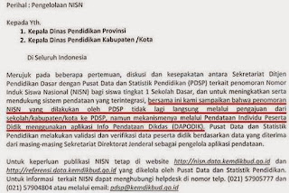 Penomoran NISN oleh PSDP menggunakan pendataan Dapodik.