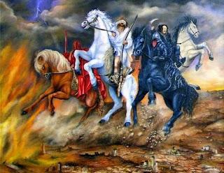 E tocou o sexto anjo a sua trombeta, e ouvi uma voz que vinha das quatro pontas do altar de ouro, que estava diante de Deus, A qual dizia ao sexto anjo, que tinha a trombeta: Solta os quatro anjos, que estão presos junto ao grande rio Eufrates. E foram soltos os quatro anjos, que estavam preparados para a hora, e dia, e mês, e ano, a fim de matarem a terça parte dos homens. E o número dos exércitos dos cavaleiros era de duzentos milhões; e ouvi o número deles. E assim vi os cavalos nesta visão; e os que sobre eles cavalgavam tinham couraças de fogo, e de jacinto, e de enxofre; e as cabeças dos cavalos eram como cabeças de leões; e de suas bocas saía fogo e fumaça e enxofre. Por estes três foi morta a terça parte dos homens, isto é pelo fogo, pela fumaça, e pelo enxofre, que saíam das suas bocas. Porque o poder dos cavalos está na sua boca e nas suas caudas. Porquanto as suas caudas são semelhantes a serpentes, e têm cabeças, e com elas danificam. E os outros homens, que não foram mortos por estas pragas, não se arrependeram das obras de suas mãos, para não adorarem os demônios, e os ídolos de ouro, e de prata, e de bronze, e de pedra, e de madeira, que nem podem ver, nem ouvir, nem andar. E não se arrependeram dos seus homicídios, nem das suas feitiçarias, nem da sua fornicação, nem dos seus furtos.