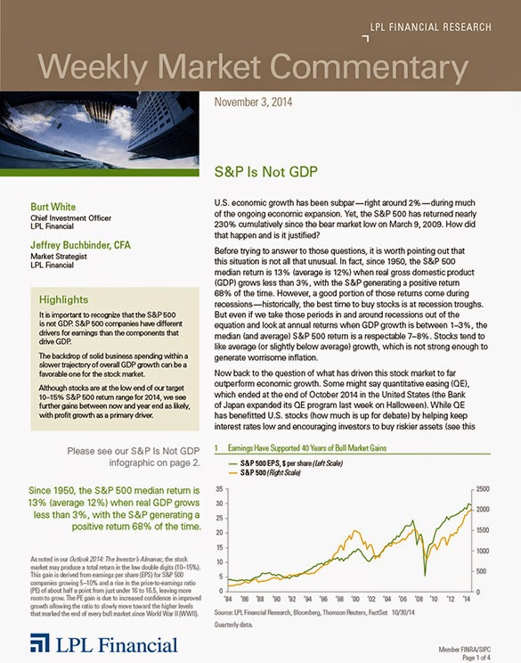 November 3, 2014 - LPL Financial Weekly Market Commentary from Legacy Wealth Planning