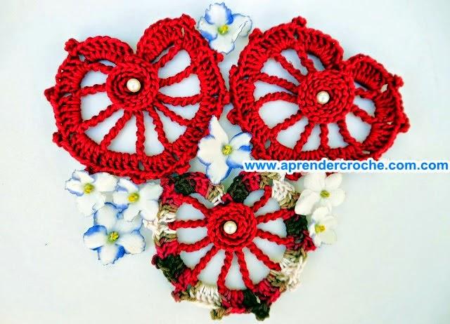 coração vermelho mesclado aprender croche edinir-croche dvd video-aulas loja curso de croche frete gratis