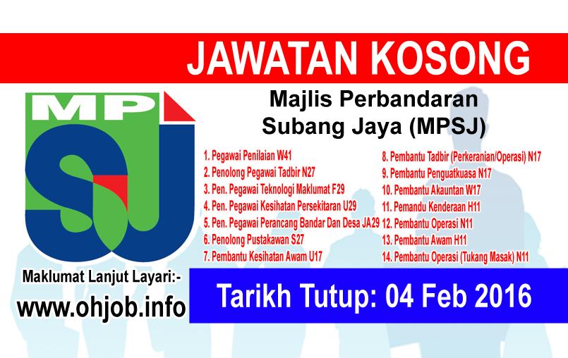Jawatan Kerja Kosong Majlis Perbandaran Subang Jaya (MPSJ) logo www.ohjob.info februari 2016