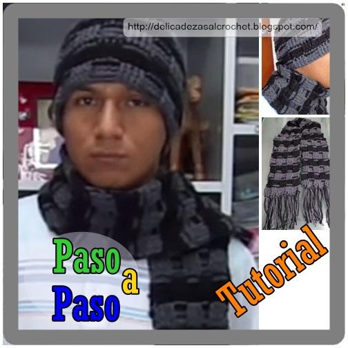Delicadezas en crochet Gabriela: Conjunto para hombres ; Gorro y bufanda