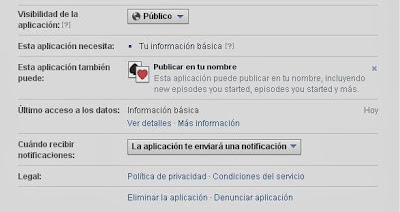 Configuración de las aplicaciones en Facebook
