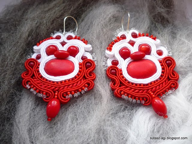 red-white soutache earrings