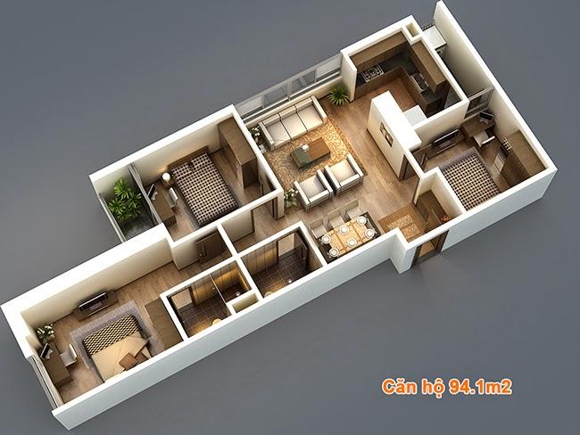 Thiết kế căn hộ 94,1m2 chung cư HP Landmark Tower