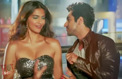 sonam kapoor hot cleavage show with ayushman khurana