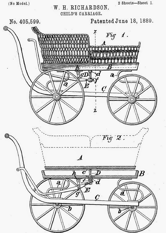 US Patent No 405599. William H. RICHARDSON. CHILD'S CARRIAGE Patented June 18 1889.