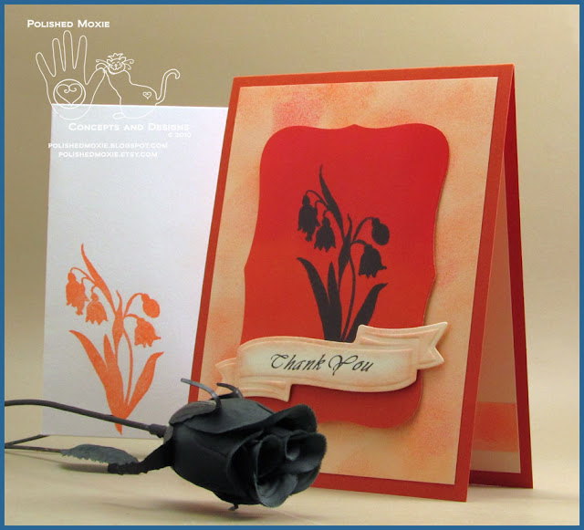 Image of handmade thank you card and coordinating envelope.
