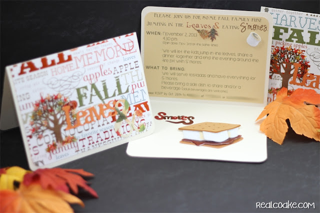 Cute invitation ideas for a fall family fun event of leaf jumping and S'mores from #realcoake