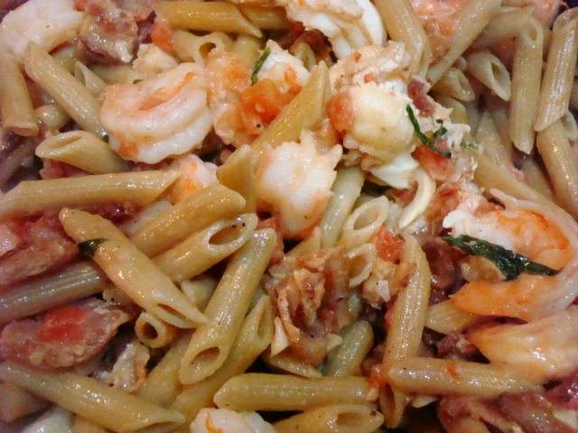 Add cooked pasta and toss to thoroughly coat. Season to taste with ...