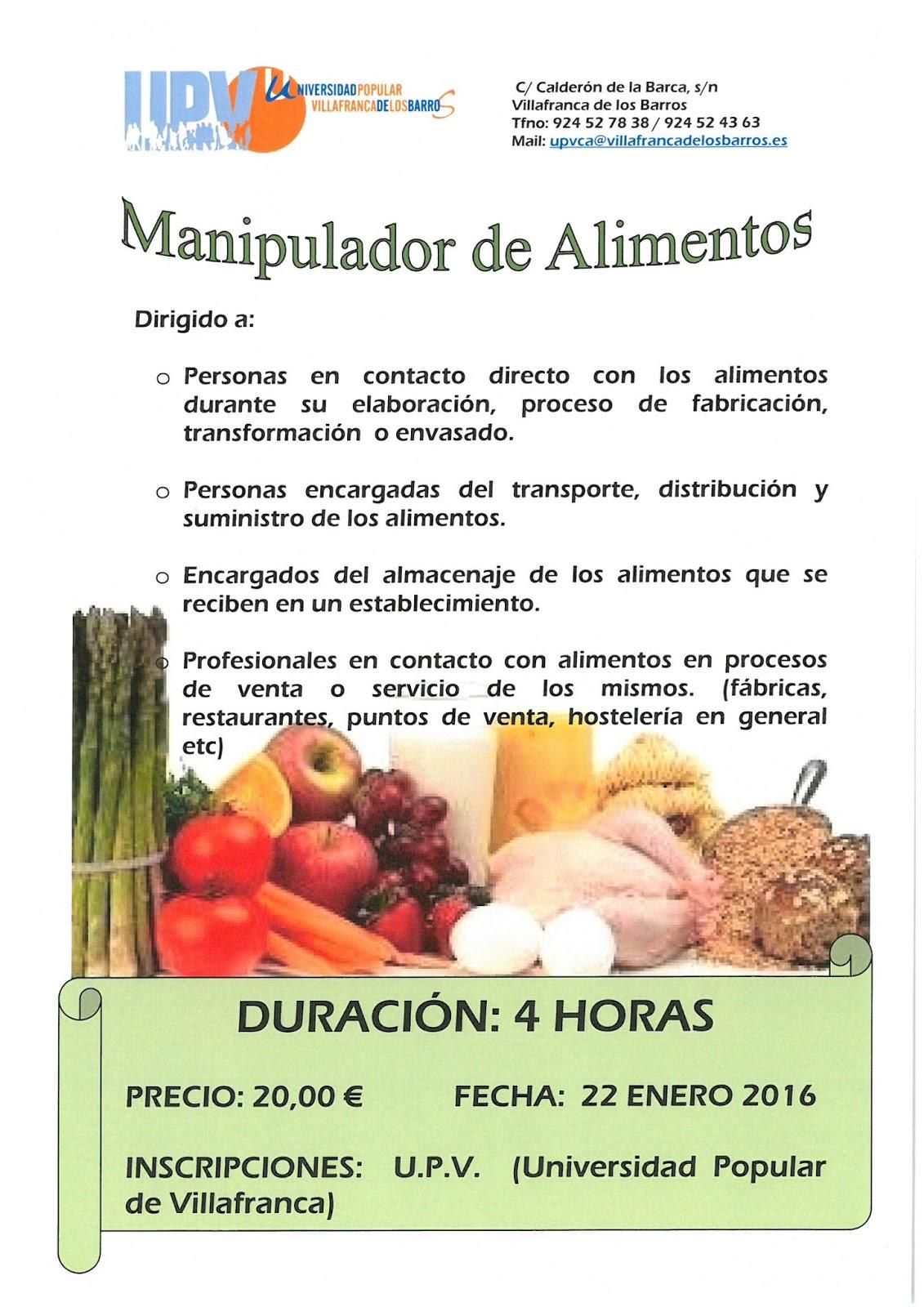 La upv oferta un curso de manipulador de alimentos el eco de los barros - Www manipulador de alimentos es ...