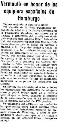 Recorte de Mundo Deportivo del 3 de agosto de 1930 sobre el vermut homenaje a los ajedrecistas españoles participantes en la III Olimpíada de Ajedrez