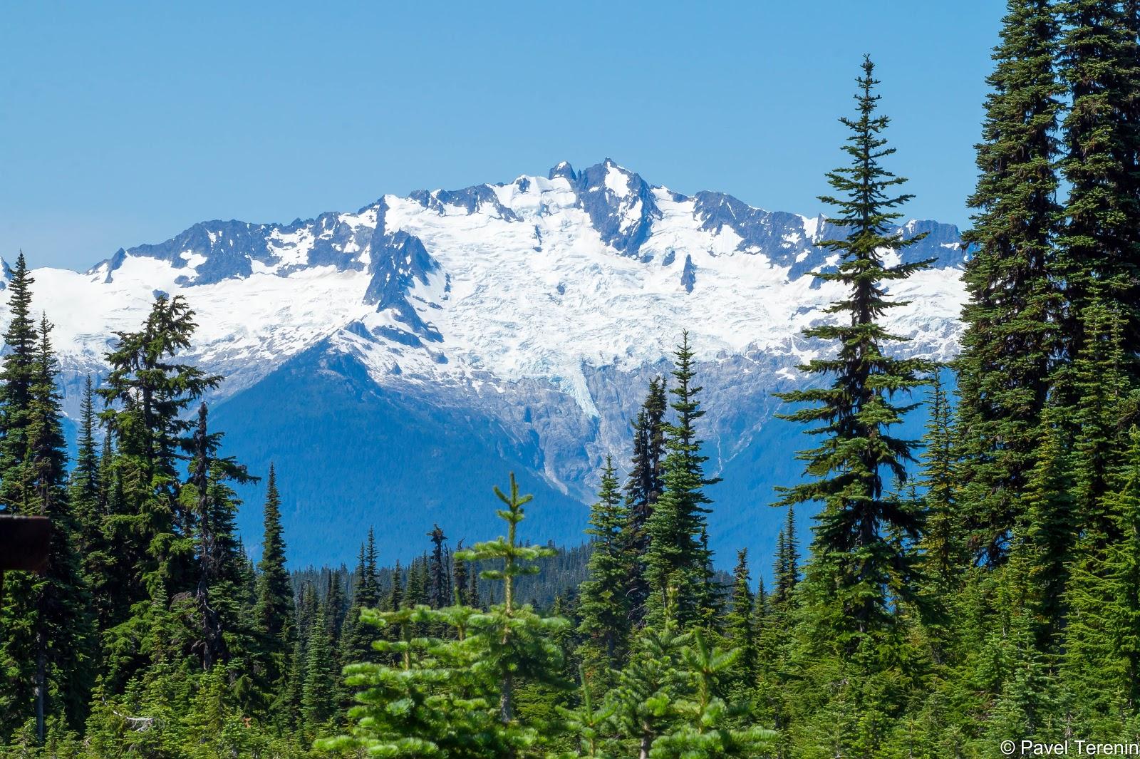 вид на снежные шапки гор прибрежного хребта