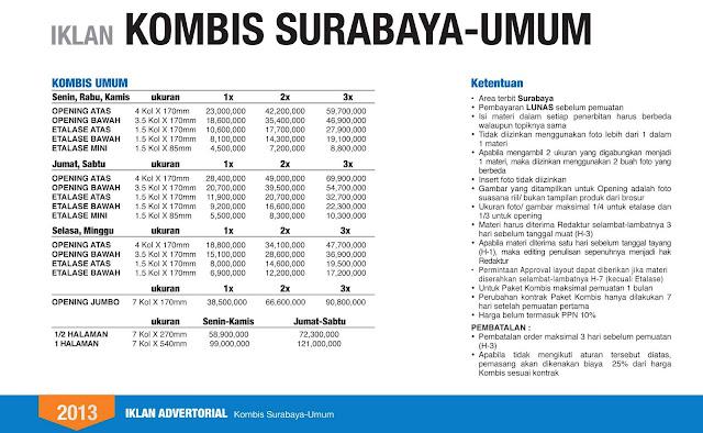Harga Komunikasi Bisnis Surabaya ~ Jawa Pos Koran | Pasang Iklan Jawa