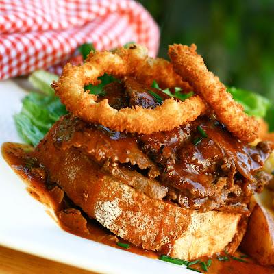 hot roast beef sandwich homemade onion rings
