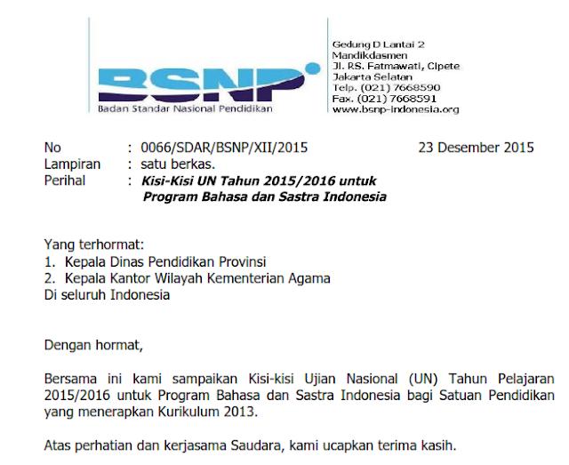 Sudah terbit Kisi-kisi Ujian Nasional UN Bahasa Indoensia K13 2015 2016 1