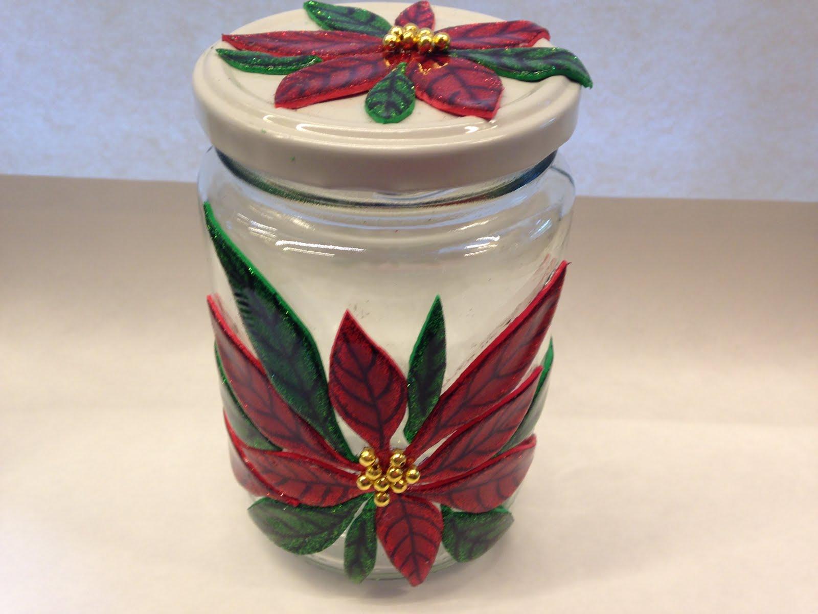 Los frascos como siempre los que tengas for Frascos decorados para navidad